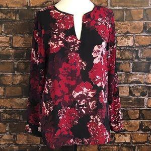 LOFT Leather Trim Floral Blouse